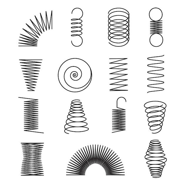 金属スプリング。スパイラルライン、コイル形状分離ベクトルシンボル Premiumベクター