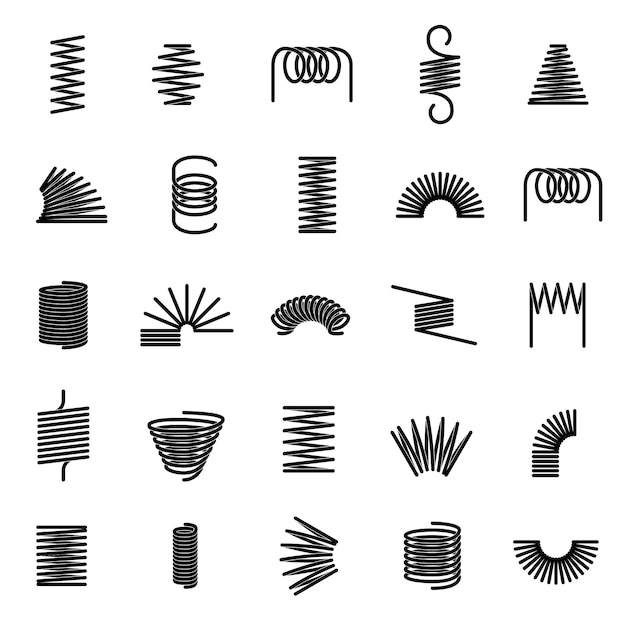 Metal springs. twisted spiral, flexible coil wire suspension black spring   line icons Premium Vector