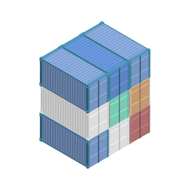 Metal square container isolated on background Free Vector