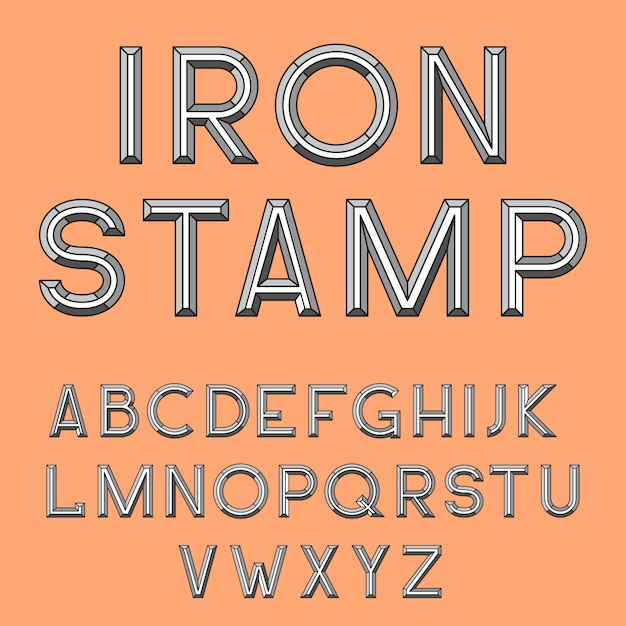 Metal stamp font Free Vector