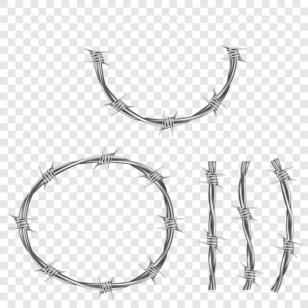 Metal steel barbed wire part with thorns or spikes Free Vector
