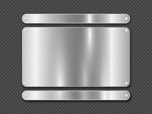 Metal striped line background and polished steel plate fastened with screws Premium Vector