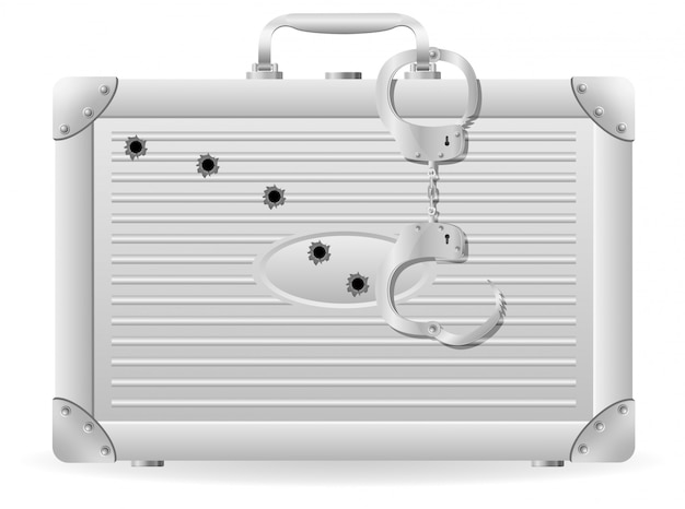Metal suitcase with handcuffs riddled with bullets. Premium Vector
