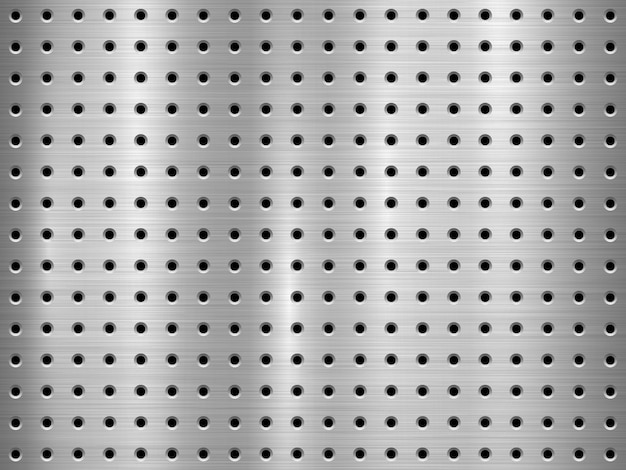 Metal technology background with seamless circle perforated pattern Premium Vector