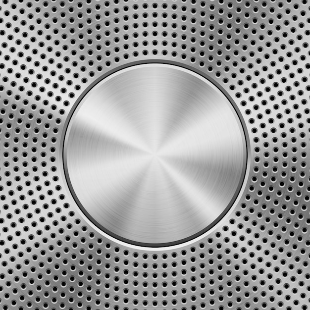 Metal textured technology perforated background Premium Vector