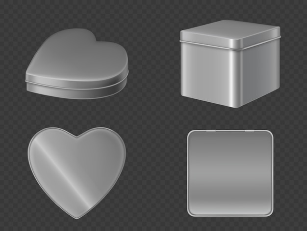 Metal tin boxes for candies Free Vector