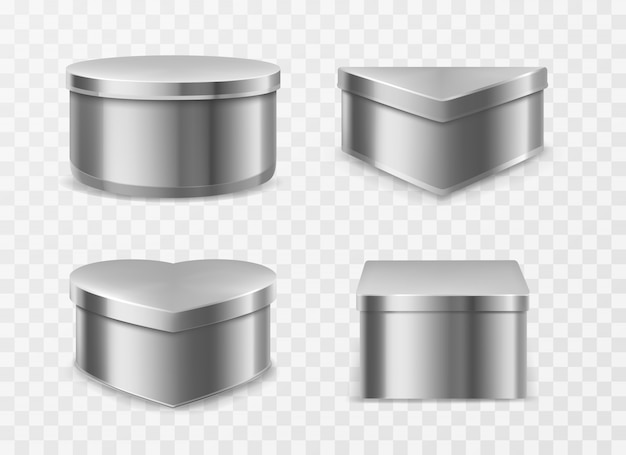 Metal tin boxes for coffee, tea or candies Free Vector