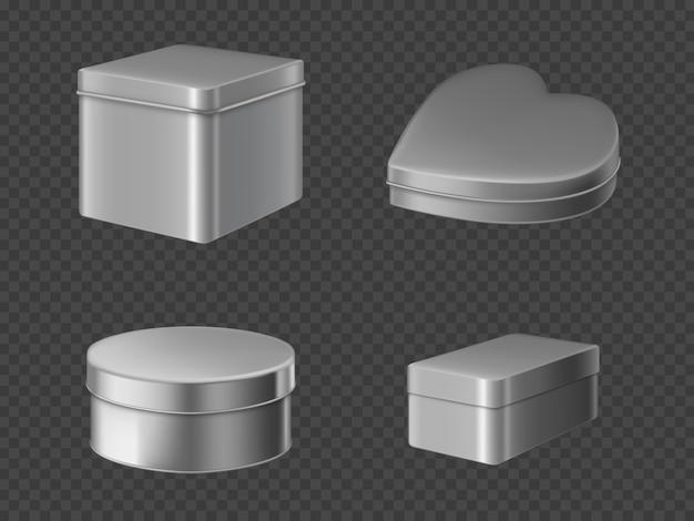 Metal tin boxes set Free Vector