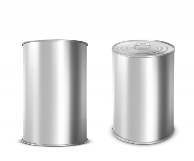 Metal tin can for food with ring pull on lid Free Vector