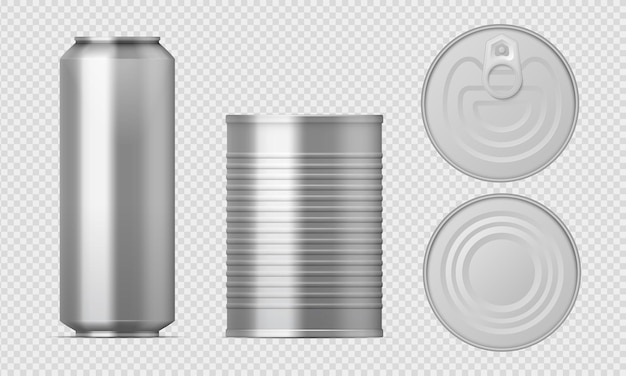 Metal tin can. realistic food packages blank cylinder templates, aluminum conserved boxes with different views. Premium Vector