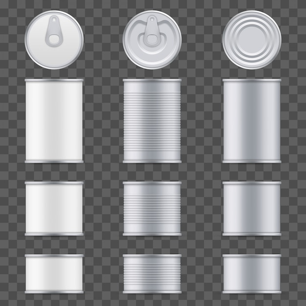 Metal tin can of tuna top and front view template. Premium Vector