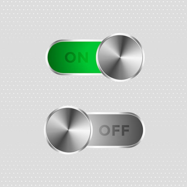 Metal toggle switch on and off button Free Vector