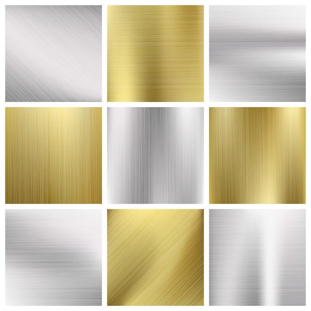 Metal vector textures set Premium Vector