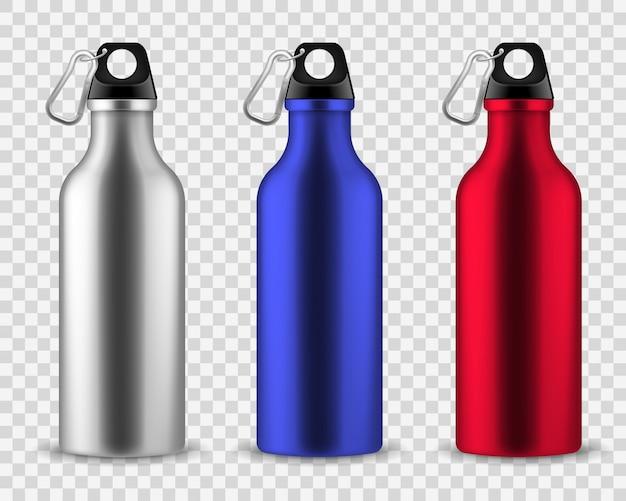 Metal water bottle. drinking reusable bottles, drink aluminum flask fitness sports realistic stainless set Premium Vector