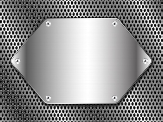 Metal with punching and polished steel plate fastened with screws Premium Vector