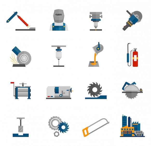 Metal-working icon flat Free Vector