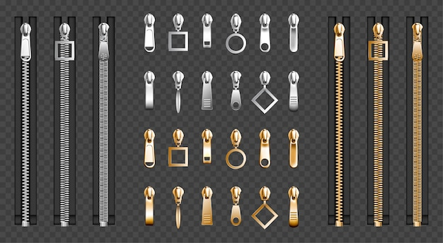 Metal zip fasteners, silver zippers puller set Free Vector