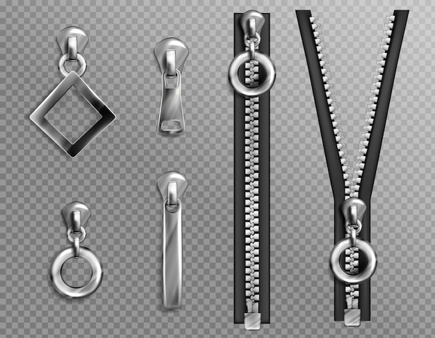 Metal zip fasteners, silver zippers with differently shaped puller and open or closed black fabric tape, clothing hardware isolated Free Vector