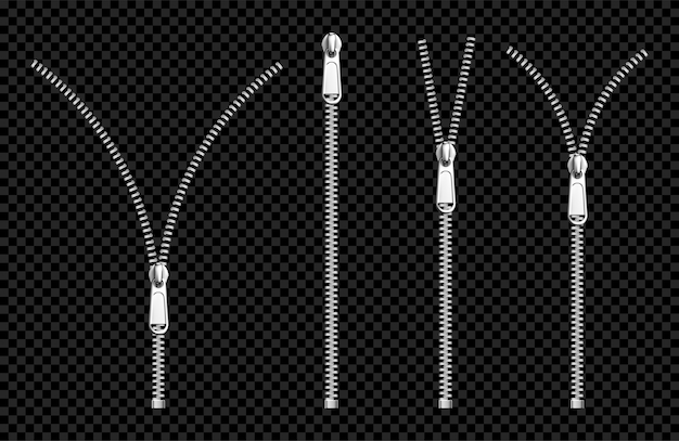 プラーセット付きのメタルジッパーファスナーシルバージッパー 無料ベクター