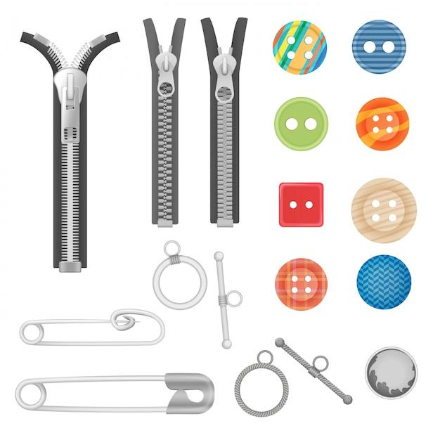 Metal zipper and sewing tools Premium Vector