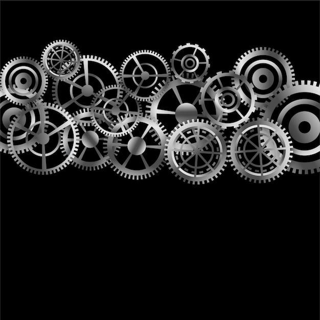 Фон металлические шестерни различных форм и размеров Бесплатные векторы