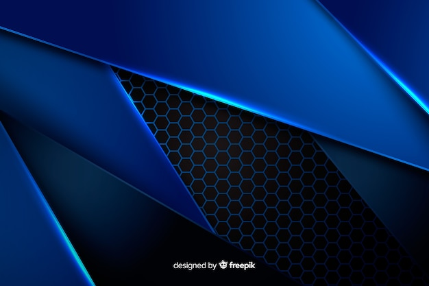 Metallic blue shapes background Free Vector