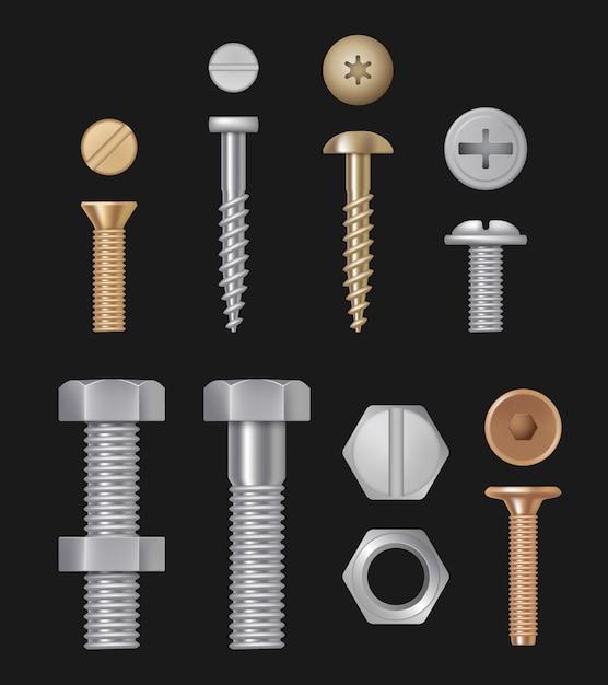 金属製のボルトとネジ、建設用ハードウェア銀修理ツール、現実的なセット分離 Premiumベクター