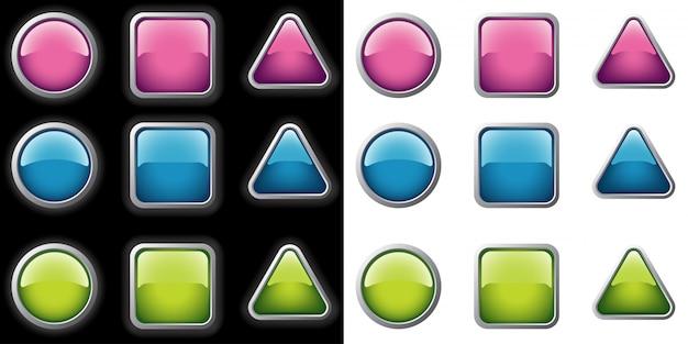 Metallic buttons collection Premium Vector