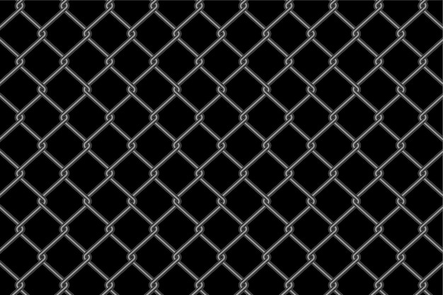 Metallic chain link fence pattern on black background Free Vector