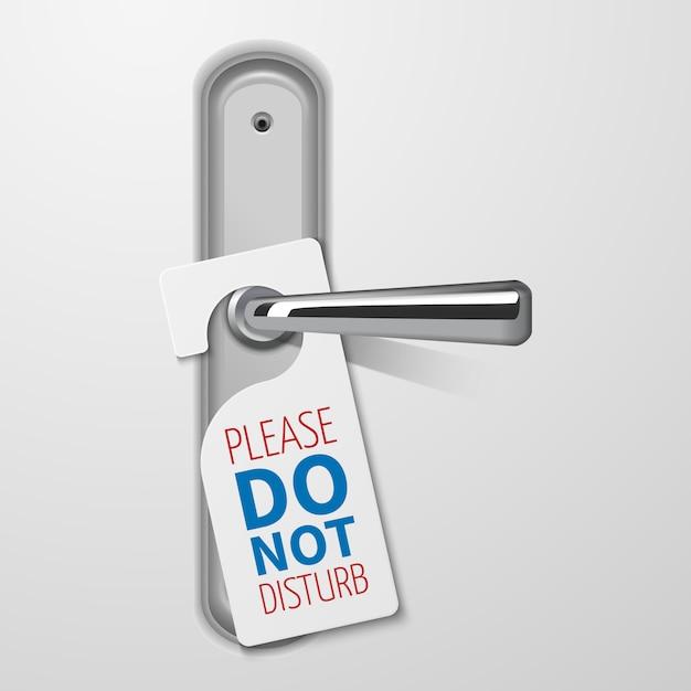 Metallic door handle with do not disturb white black vector Premium Vector