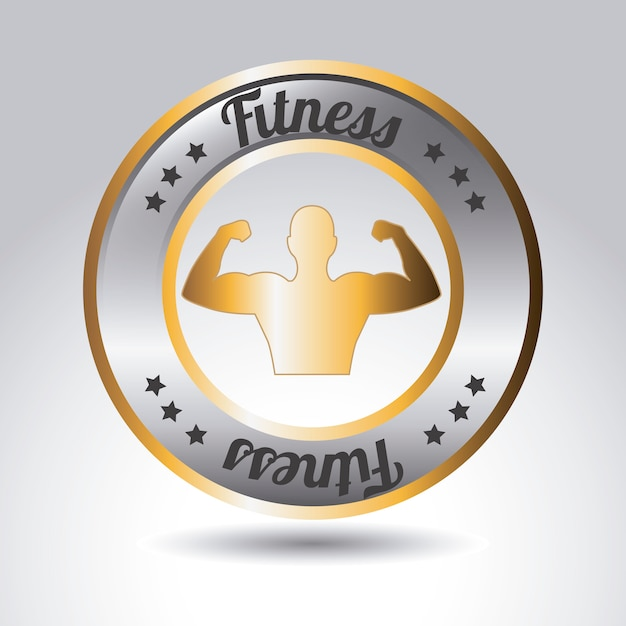 Metallic fitness label Premium Vector