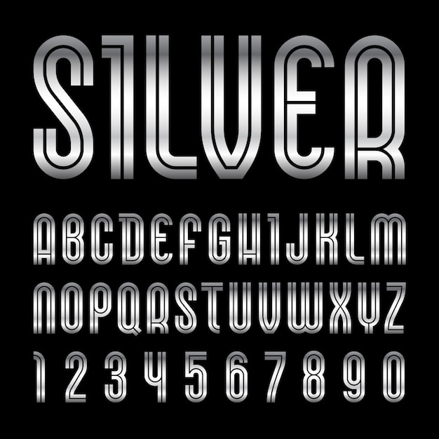 Metallic font. trendy alphabet, silver letters Premium Vector