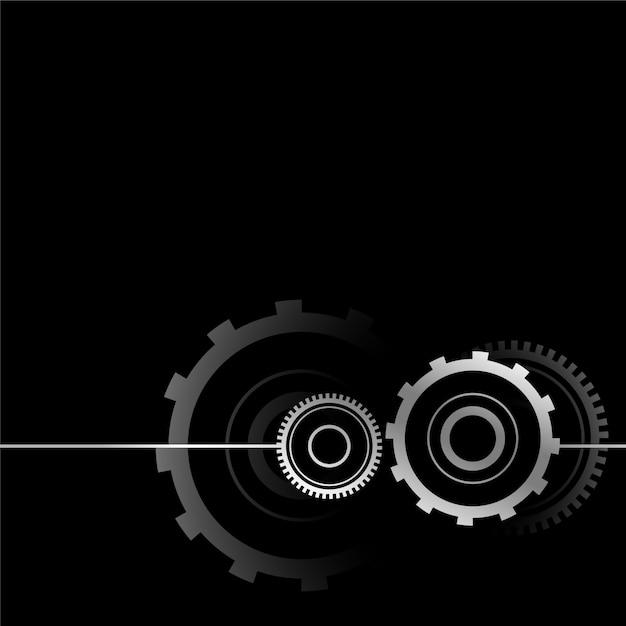 Metallic gear symbol design on black Free Vector