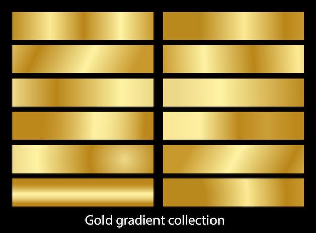 メタリックゴールドグラデーションセットコレクション Premiumベクター
