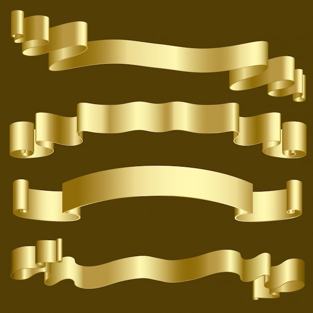 Metallic gold ribbons and banners Free Vector