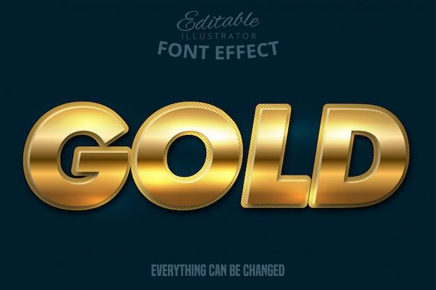 Metallic gold text effect, shiny gold alphabet style Premium Vector
