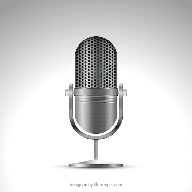 Metallic microphone in realistic style Free Vector