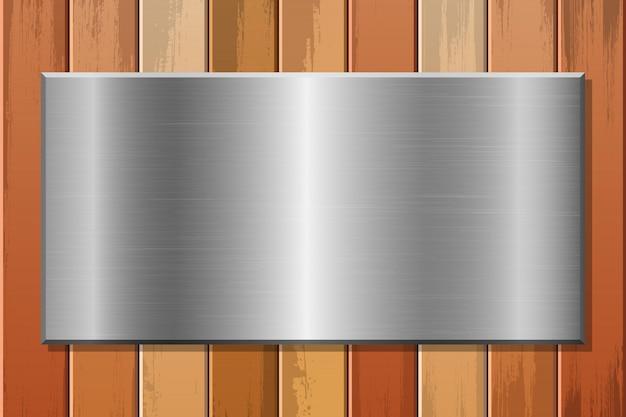 나무 배경 그림에 금속판 프리미엄 벡터