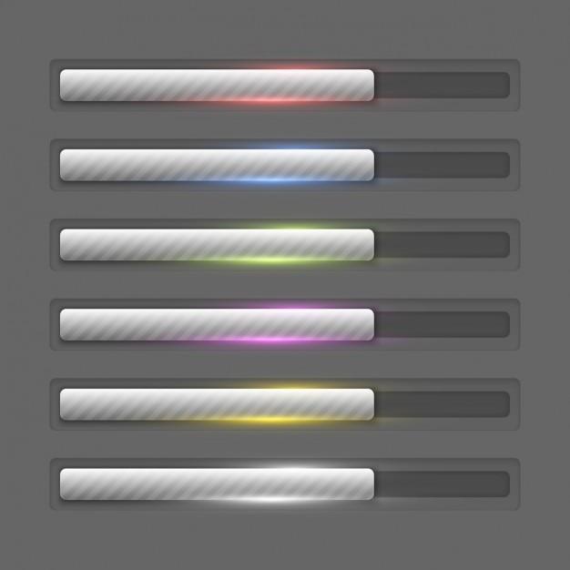 Metallic progress bars collection Free Vector