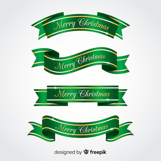 Metallic ribbons christmas collection Free Vector