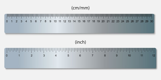Metallic rulers, marked in centimeters, inches Premium Vector
