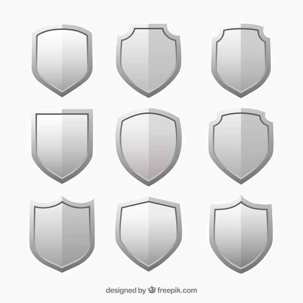Metallic shields set Free Vector