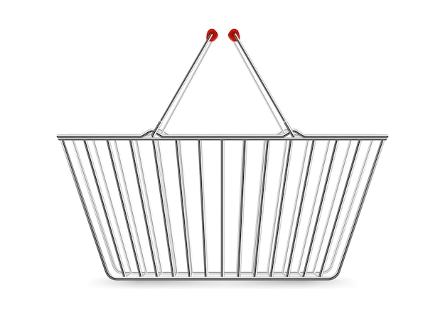 Metallic shopping basket empty realistic pictogram Free Vector