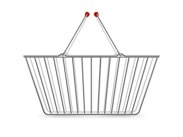 Металлическая корзина для покупок пустая реалистичная пиктограмма Бесплатные векторы