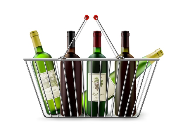 Metallic shopping basket with wine pictogram Free Vector