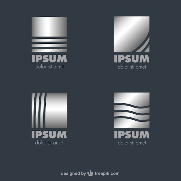 Metallic Square Logos Vector