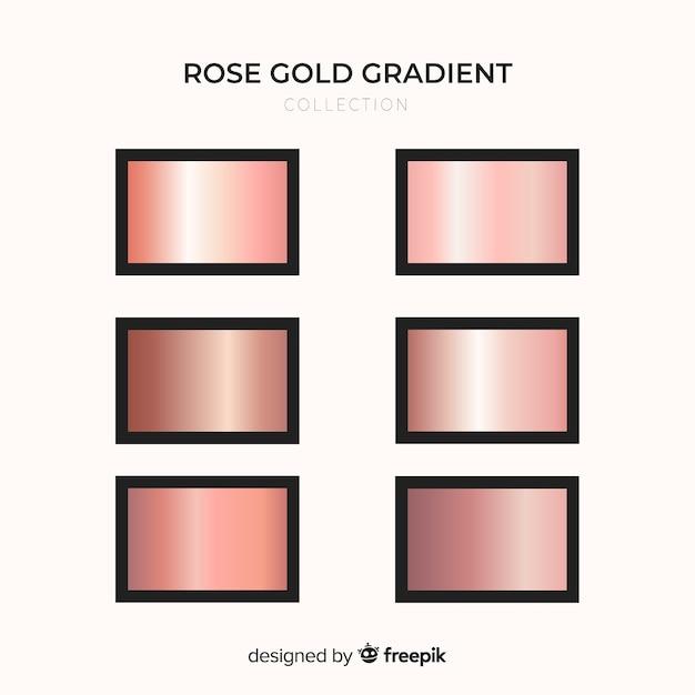 Metallic texture rose gold gradient set Free Vector