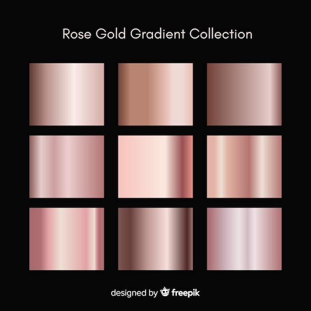 Metallic texture rose gold gradient set Premium Vector