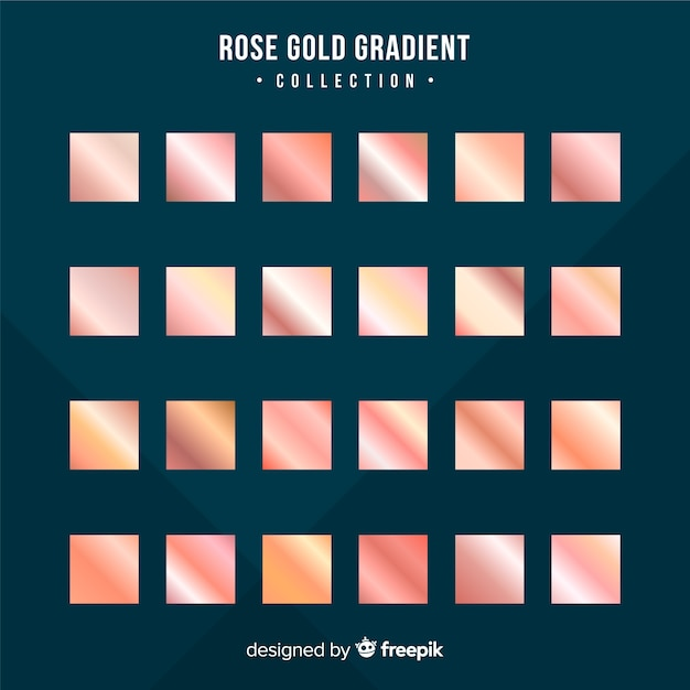 Metallic texture rose gold gradient set Free Vector