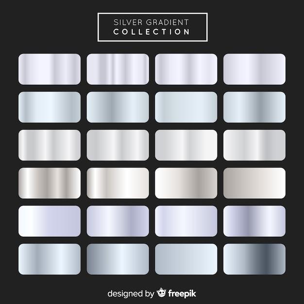 Metallic texture silver gradient set Free Vector
